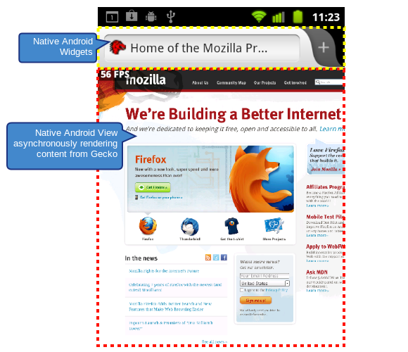 A new version of Firefox for Android uses the operating system's own user interface technology.