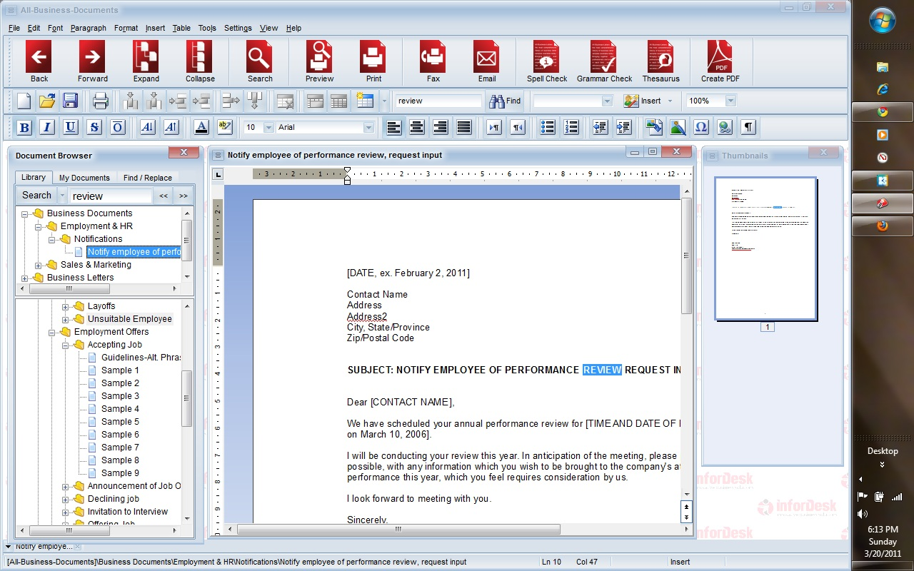 All-Business-Documents main window