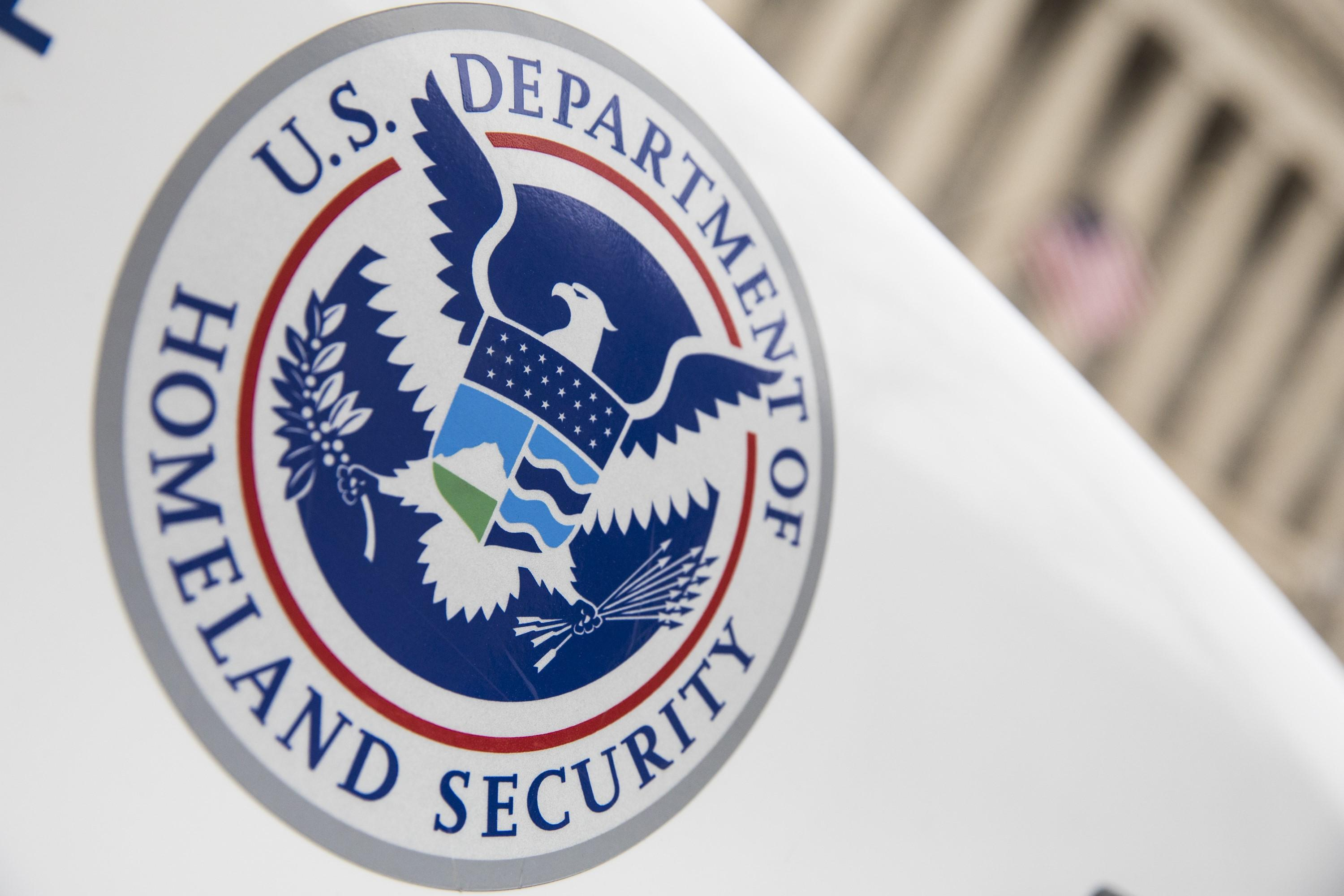 The Department of Homeland Security logo is seen on a law enforcement vehicle in Washington DC. US Department of Homeland Security Secretary Kirstjen Nielsen said Tuesday that terrorists will turn to blogs, chat rooms and encrypted chat apps to keep spreading their message online.