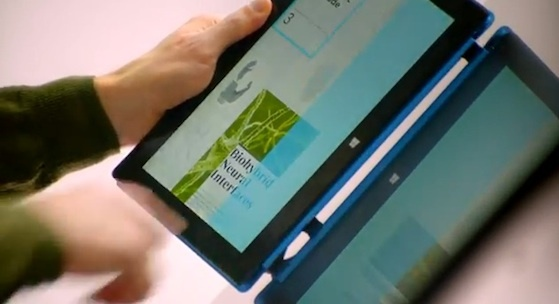 Microsoft's vision of a wall-spanning Surface will tap to  share data with tablets.