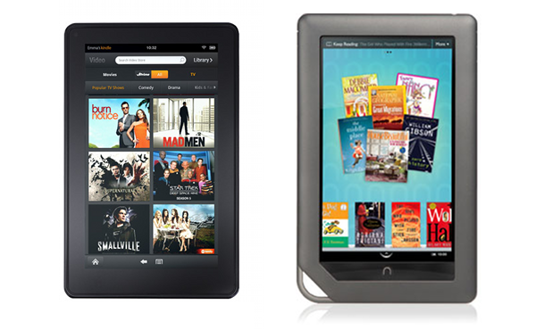 Photo of Amazon Kindle Fire and the Barnes & Noble Nook Color.