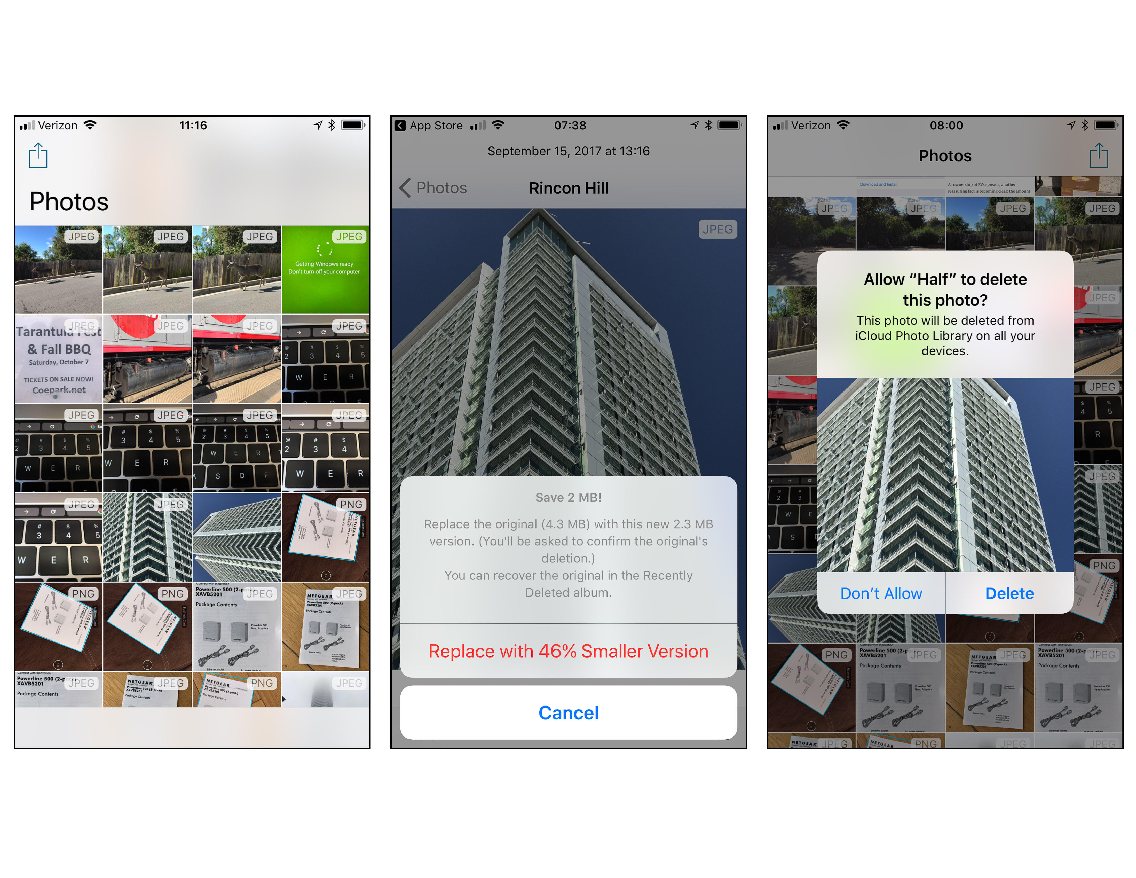 The Half app lets you convert your iPhone's JPEGs into smaller HEIC files, then delete the JPEGs.