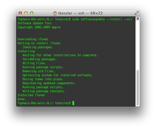 Software Update running in the Terminal