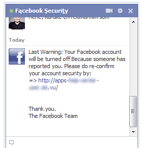 This screenshot shows what the scam Facebook chat message looks like.