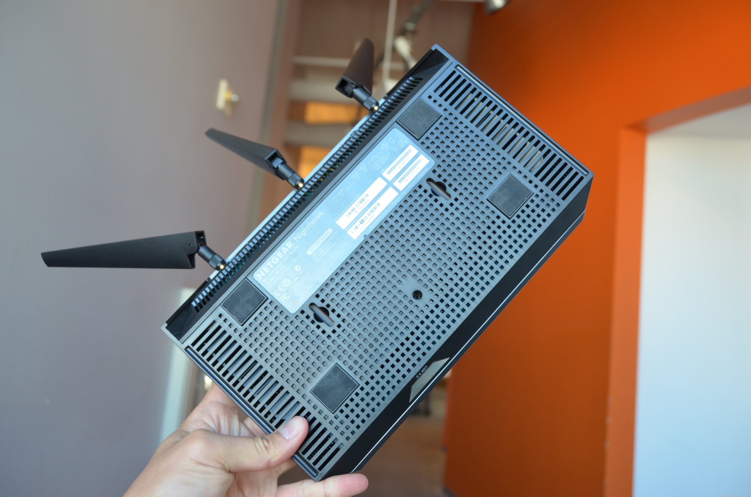 The R7000 router is huge but now can be mounted on a wall.