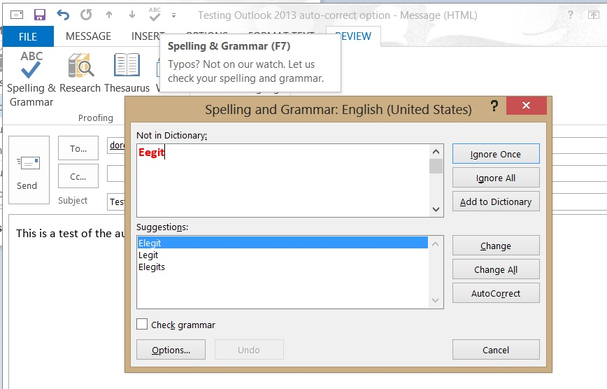 Microsoft WordMail for Outlook 2013 spell-check options