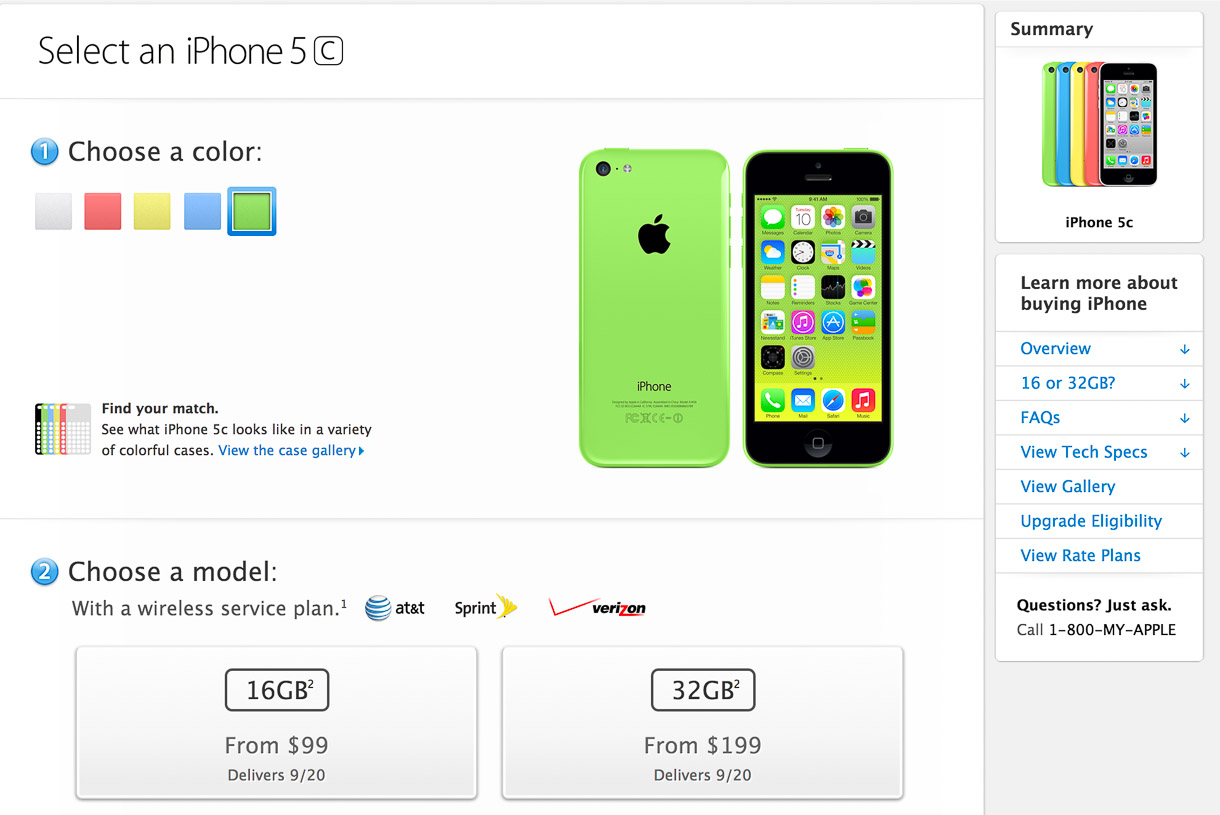 Apple started selling its lower-end new smartphone, the iPhone 5C, with an expected delivery date of September 20. That's the day the phone will be available in stores.