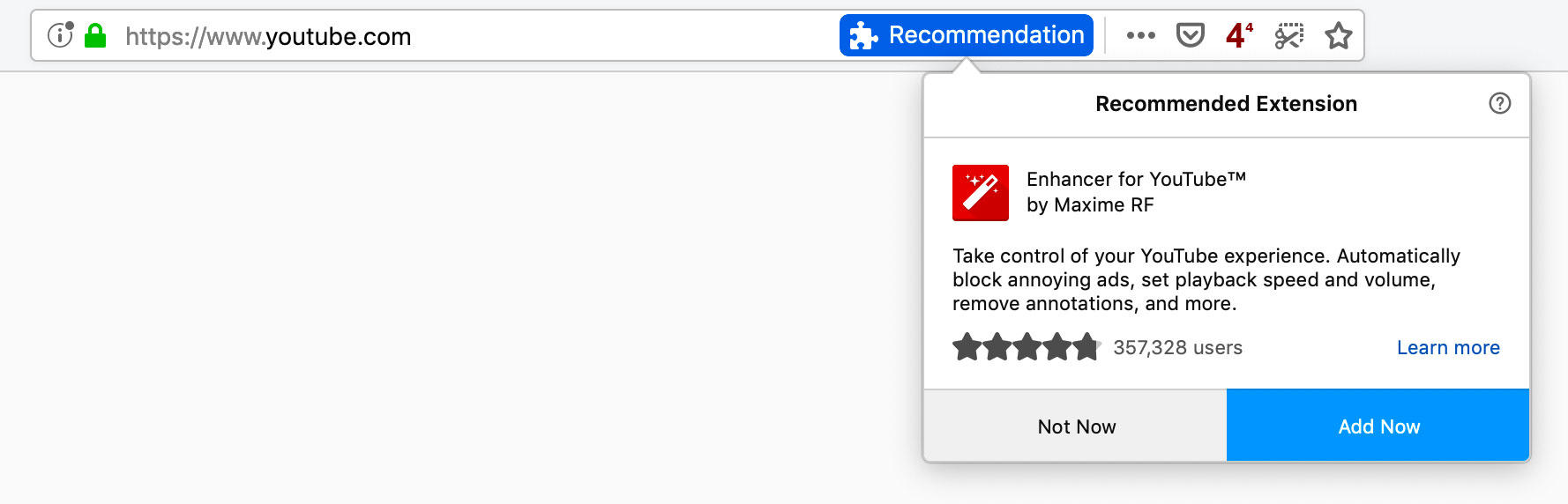 If you visit YouTube with Firefox, you may see this prompt to try the Enhancer for YouTube extension.