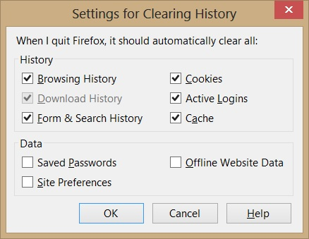 Mozilla Firefox Clear History settings