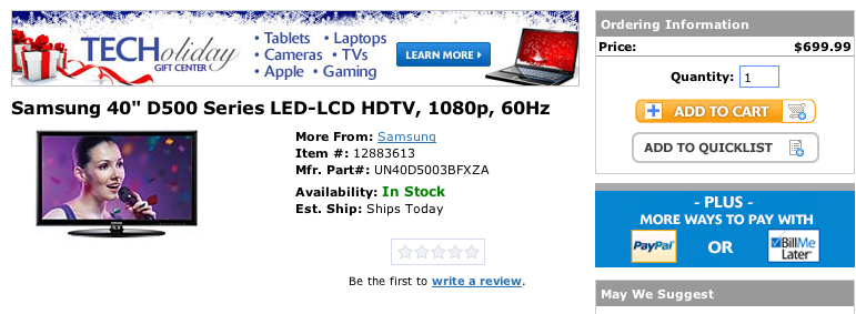 """MacConnection lists back-ordered LED TV as """"In Stock"""" for a higher price"""