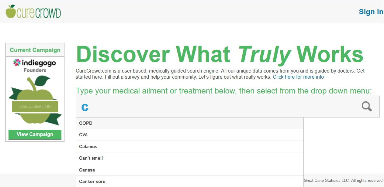 CureCrowd treatment search results