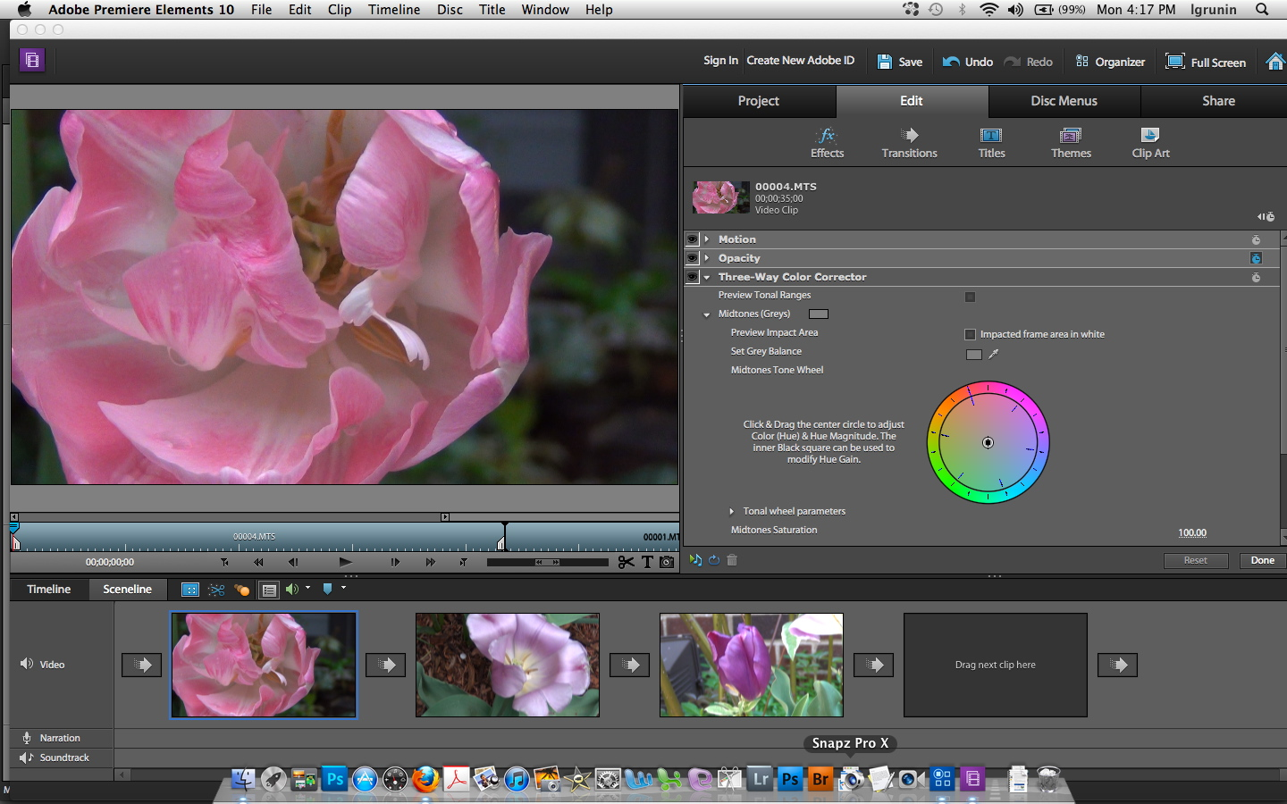 Premiere Elements' new Three-Way Color Corrector lets you adjust highlights, midtones, and shadows independently.