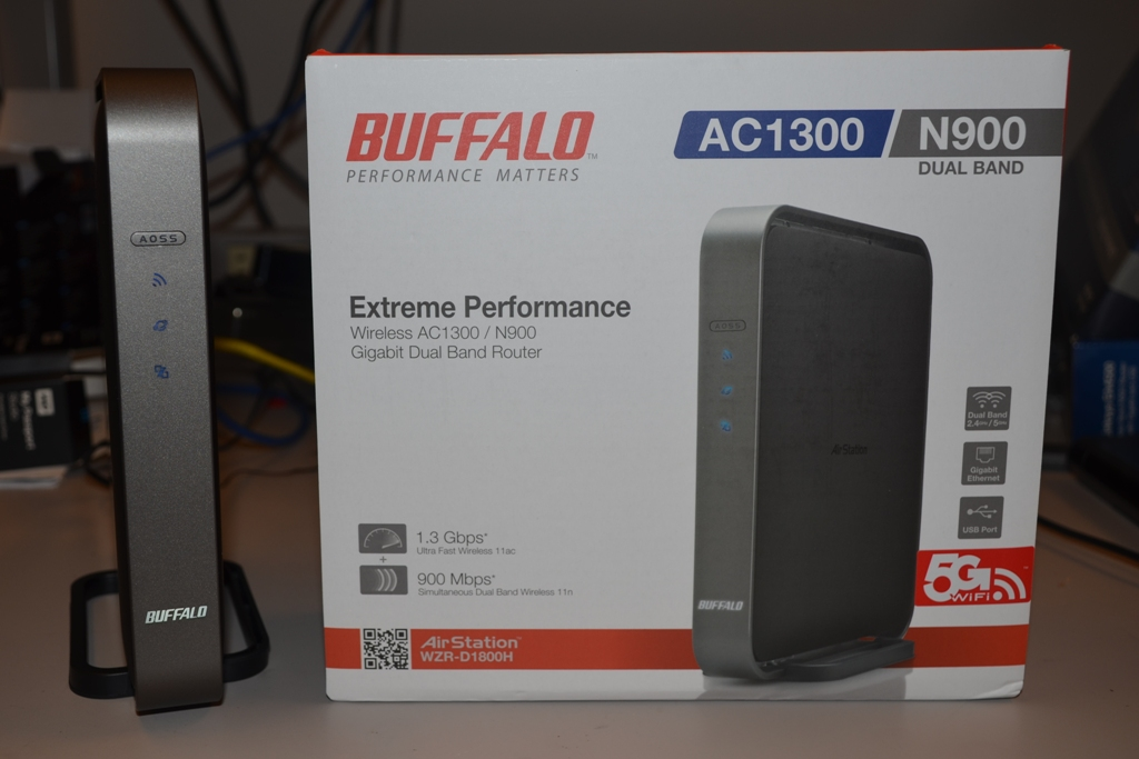 The world's first 802.11ac router, Buffalo's AirStation WZR-D1800H, being tested at CNET Labs.