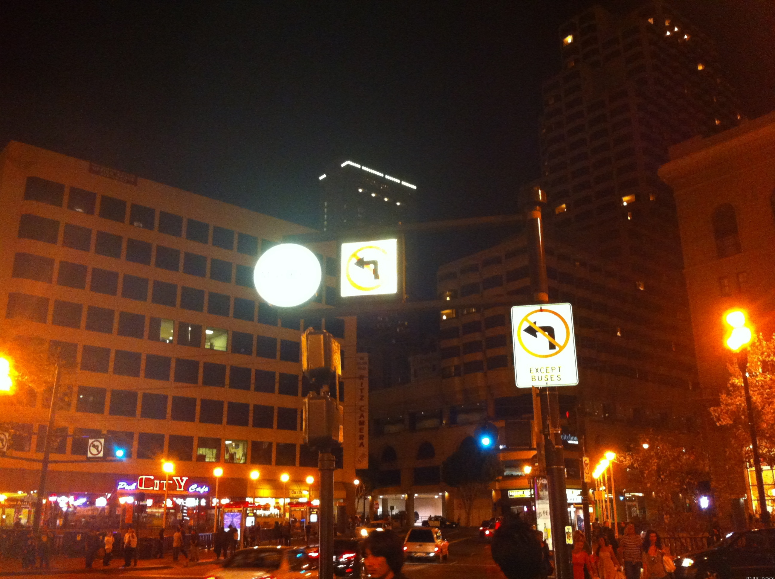 Downtown at night: iPhone 4
