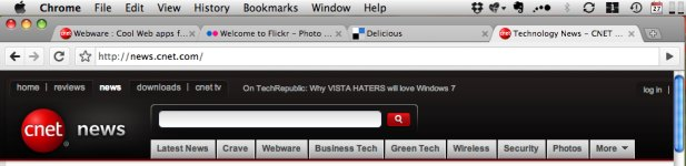 Chrome on the Mac can't free up the menu bar real estate, so it looks different than on Windows.
