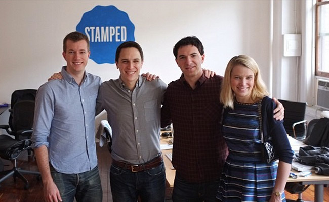 Yahoo CEO Marissa Mayer with the Stamped team in New York.