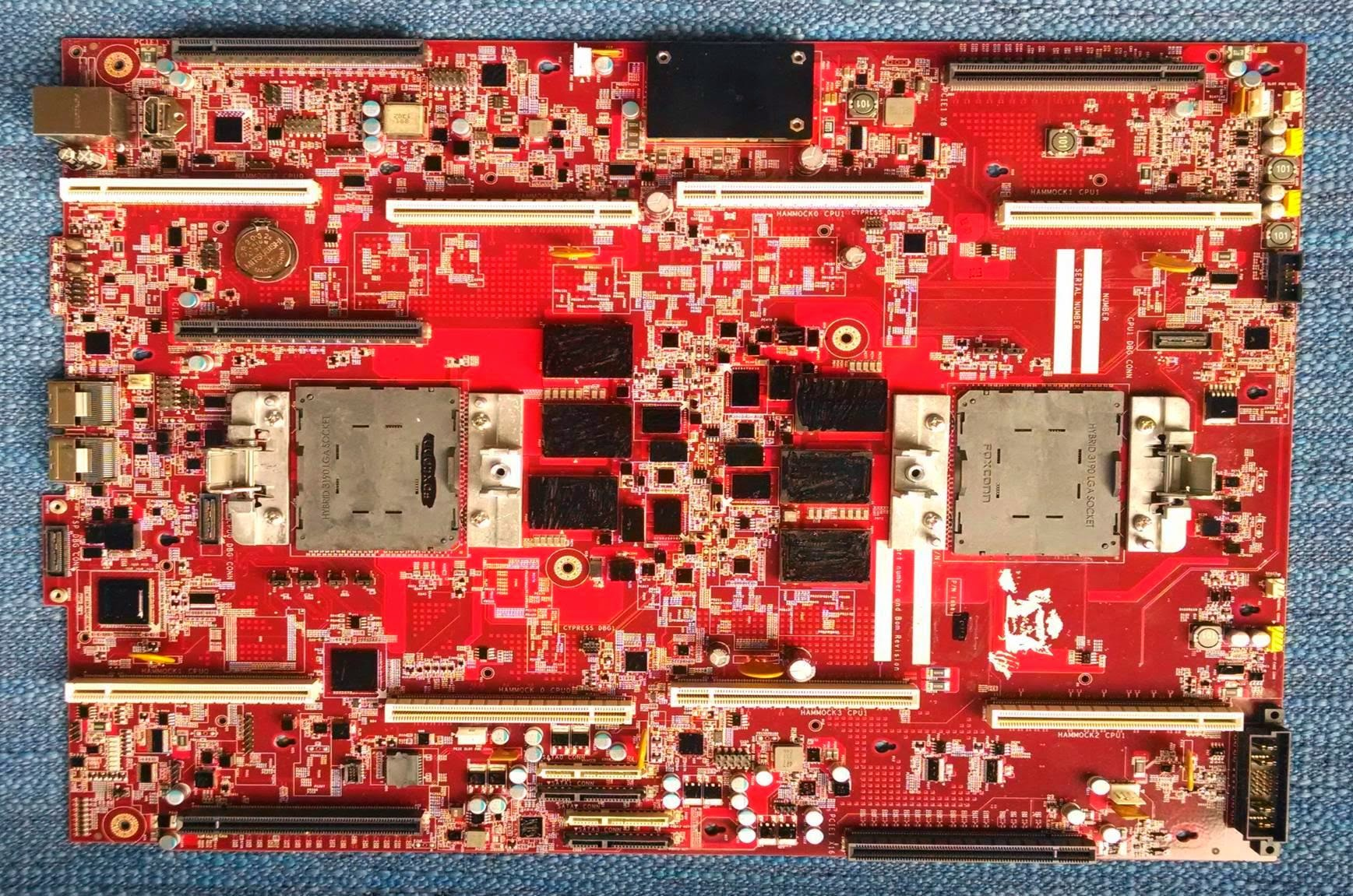 A Google server motherboard built to use IBM's Power8 processor.