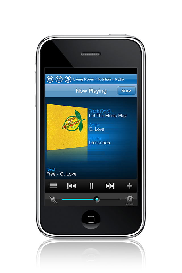 iPhone running the Sonos Controller application.