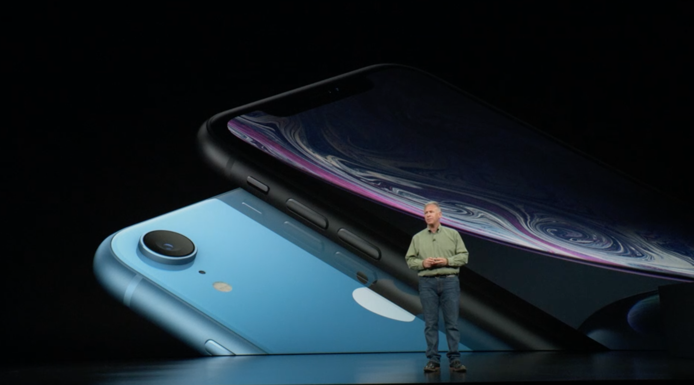Apple's Phil Schiller on stage to introduce the iPhone XR.