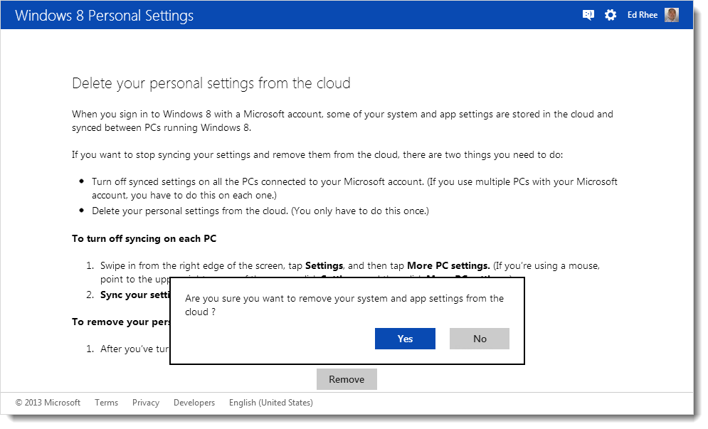 Windows 8 personal settings deletion confirmation
