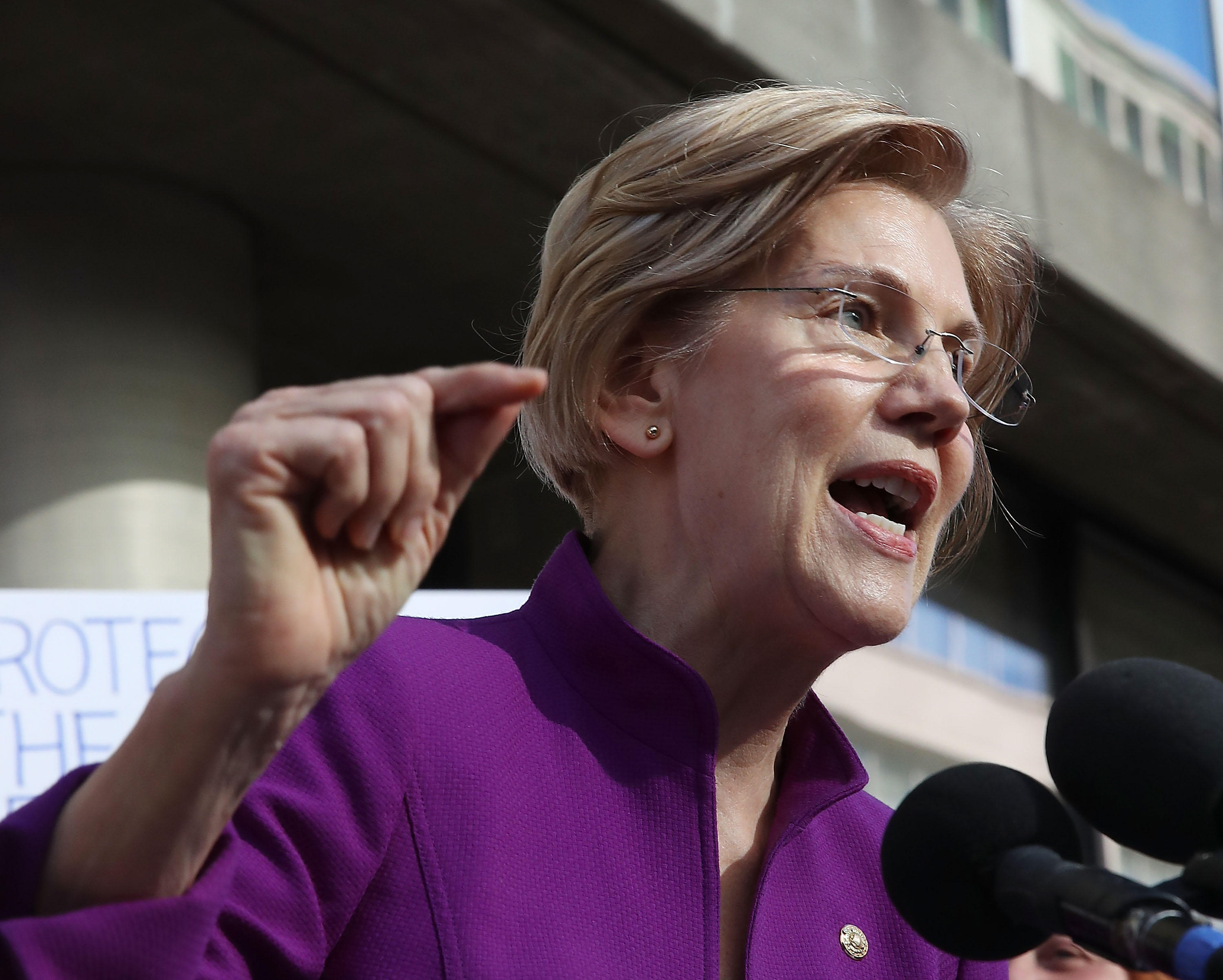 Sen. Elizabeth Warren speaks during a protest in front of the Consumer Financial Protection Bureau headquarters in November.