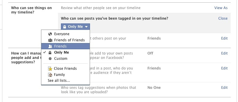 Facebook Timeline and Tagging view settings