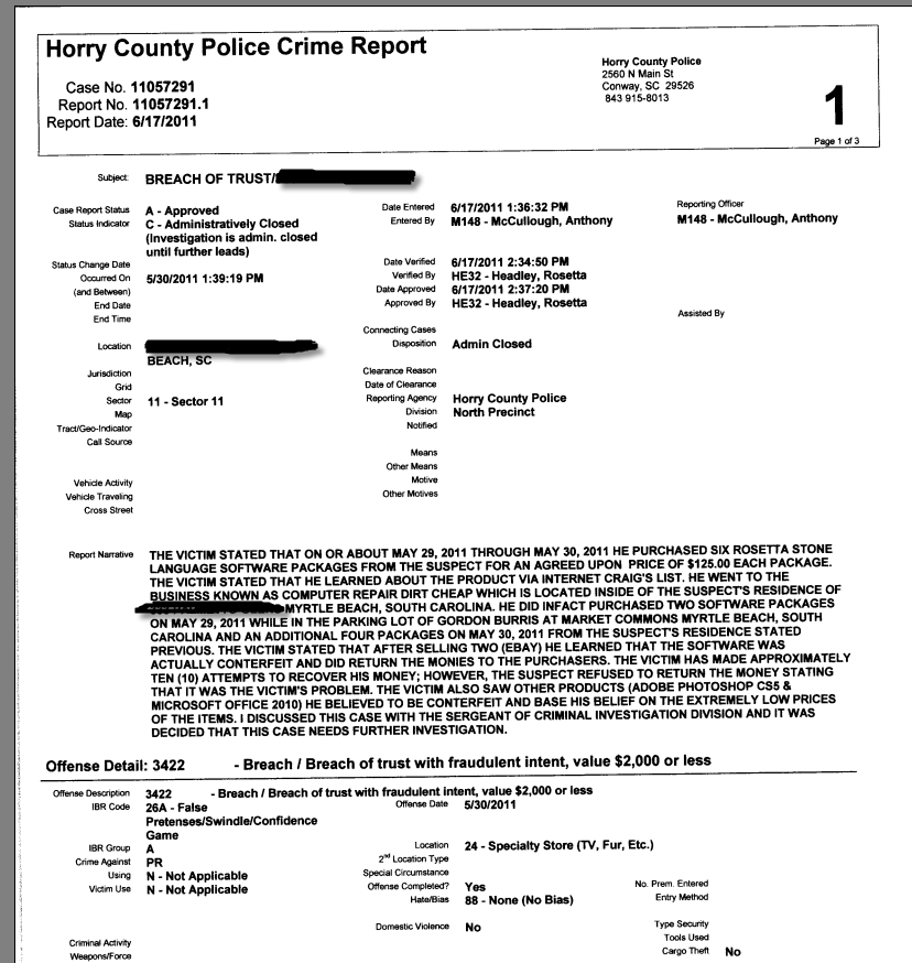 This is part of the police report.
