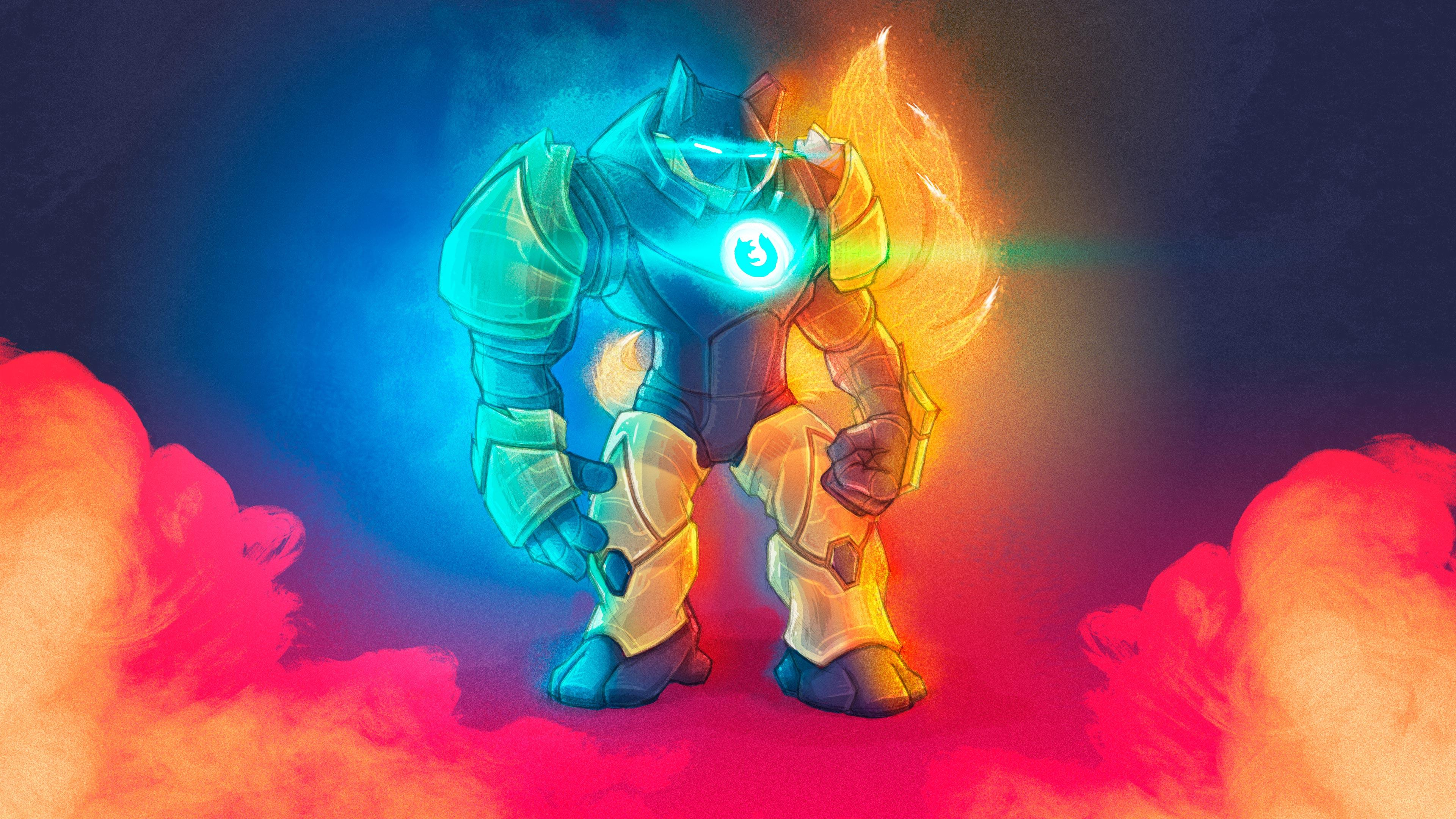 Mark 57, a Firefox-themed takeoff on an Iron Man suit, served as Mozilla's Quantum mascot.