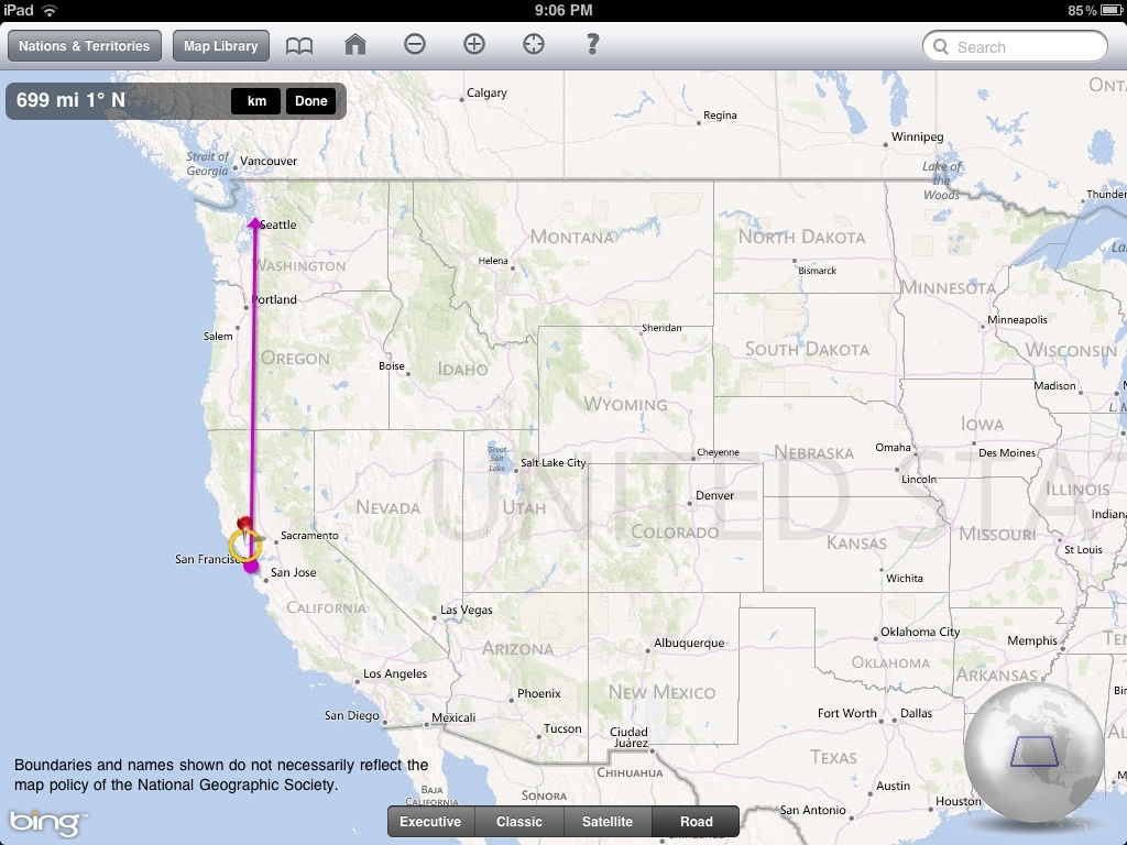 National Geographic World Atlas HD distance and bearing between two points