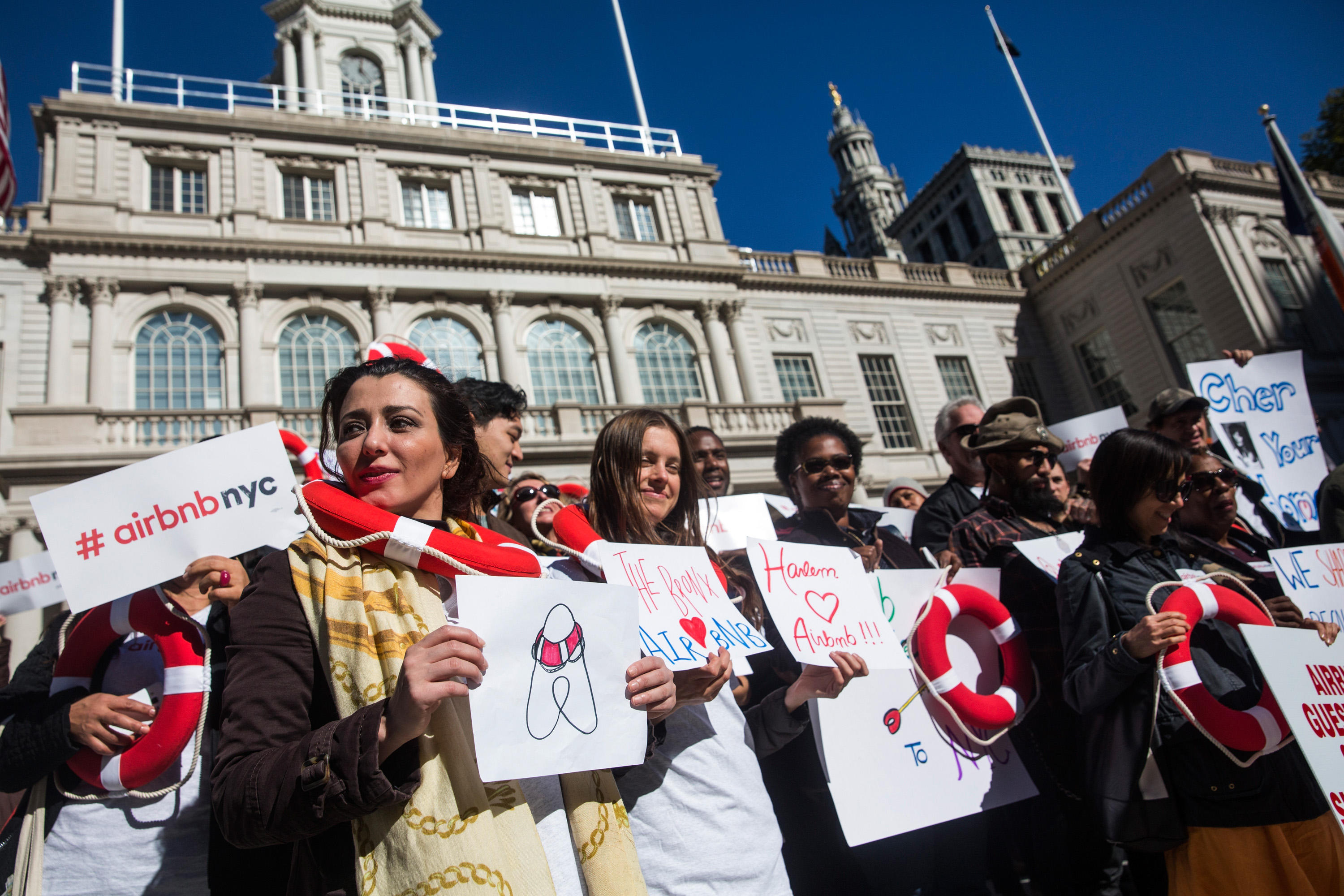 NYC Airbnb Hosts Rally At City Hall As City Debates Guidelines