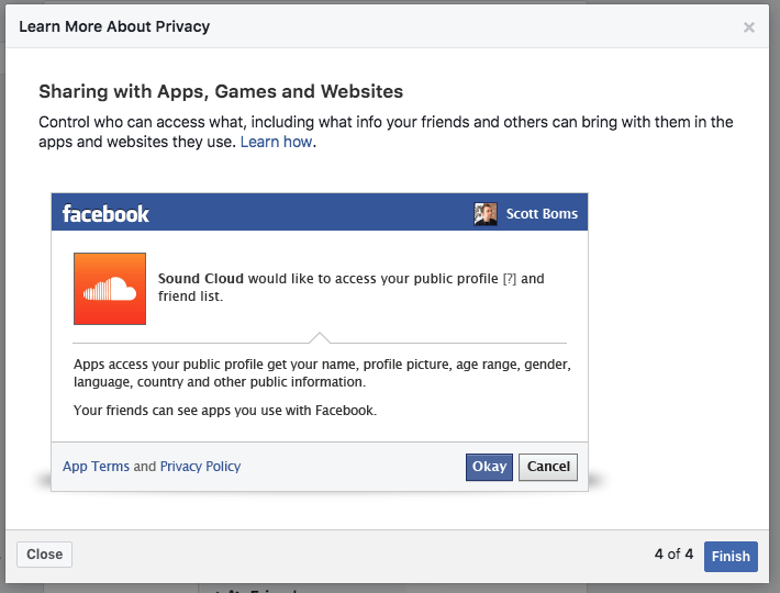 A screenshot of the last slide in Facebook's Privacy Tour.