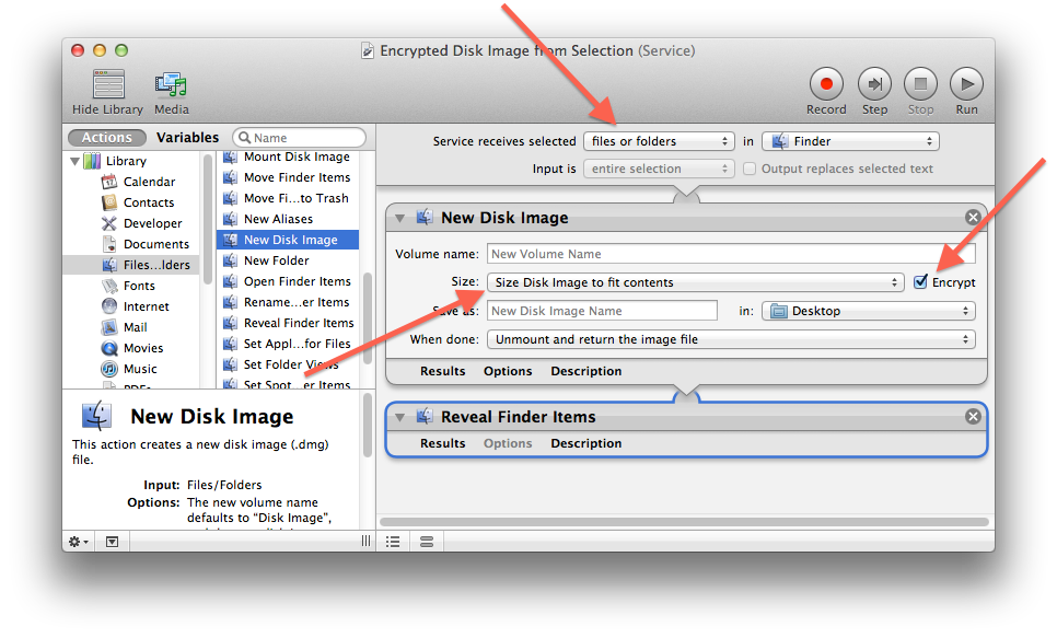 Encrypted disk image Automator workflow