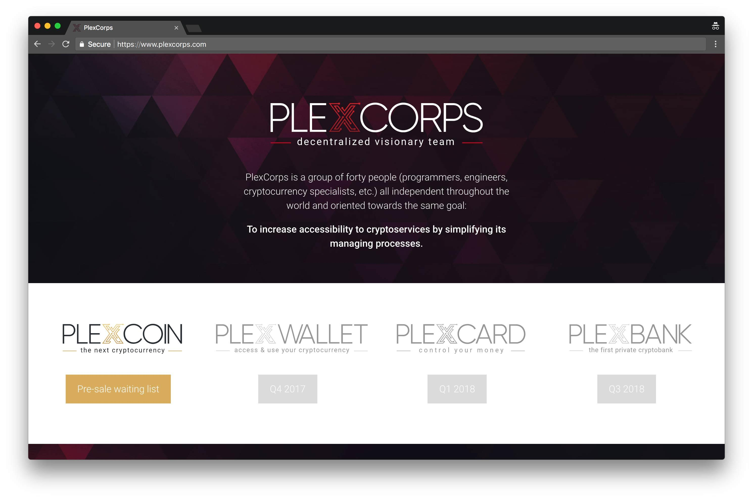The PlexCorps website shows various cryptocurrency-based services, but the US SEC says the company is a fraud.