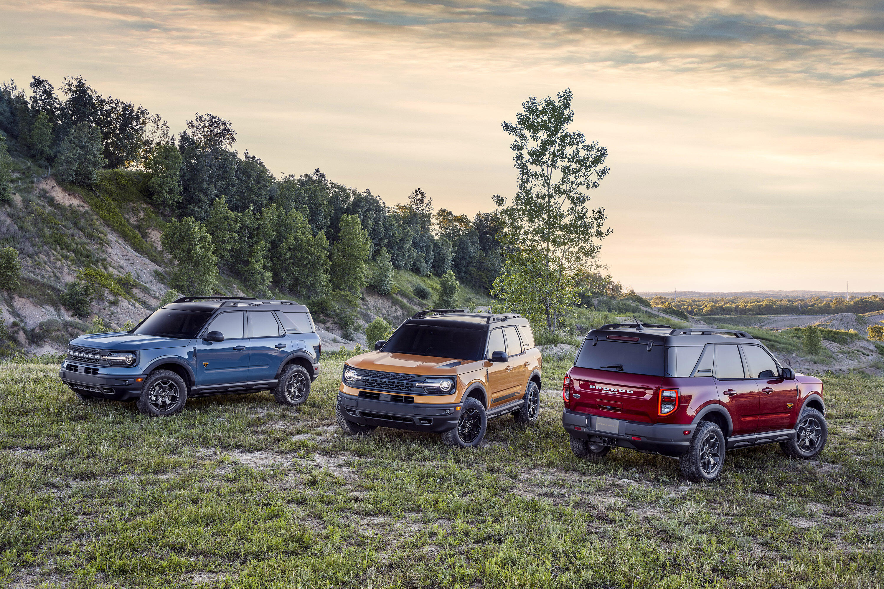 2021 Ford Bronco Sport in blue, yellow and red