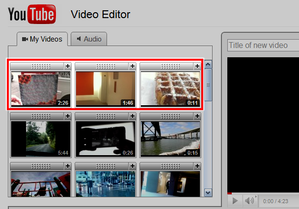 The YouTube video timeline
