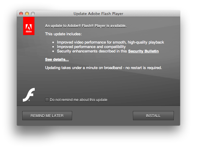Legitimate Adobe Flash update window