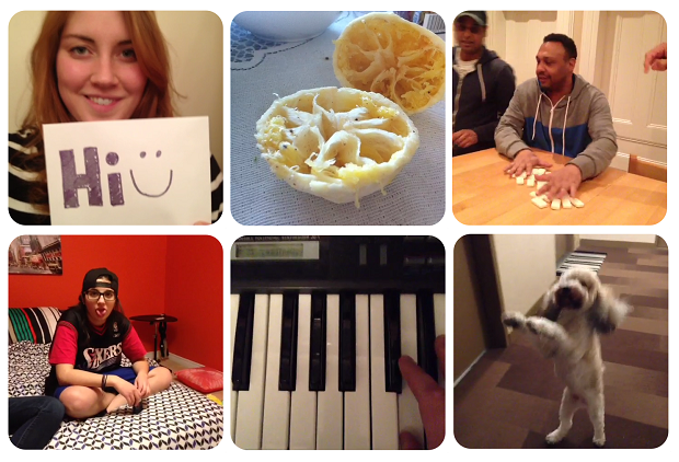 A selection of stills from Vine clips.