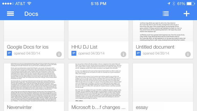 Document list thumbnails