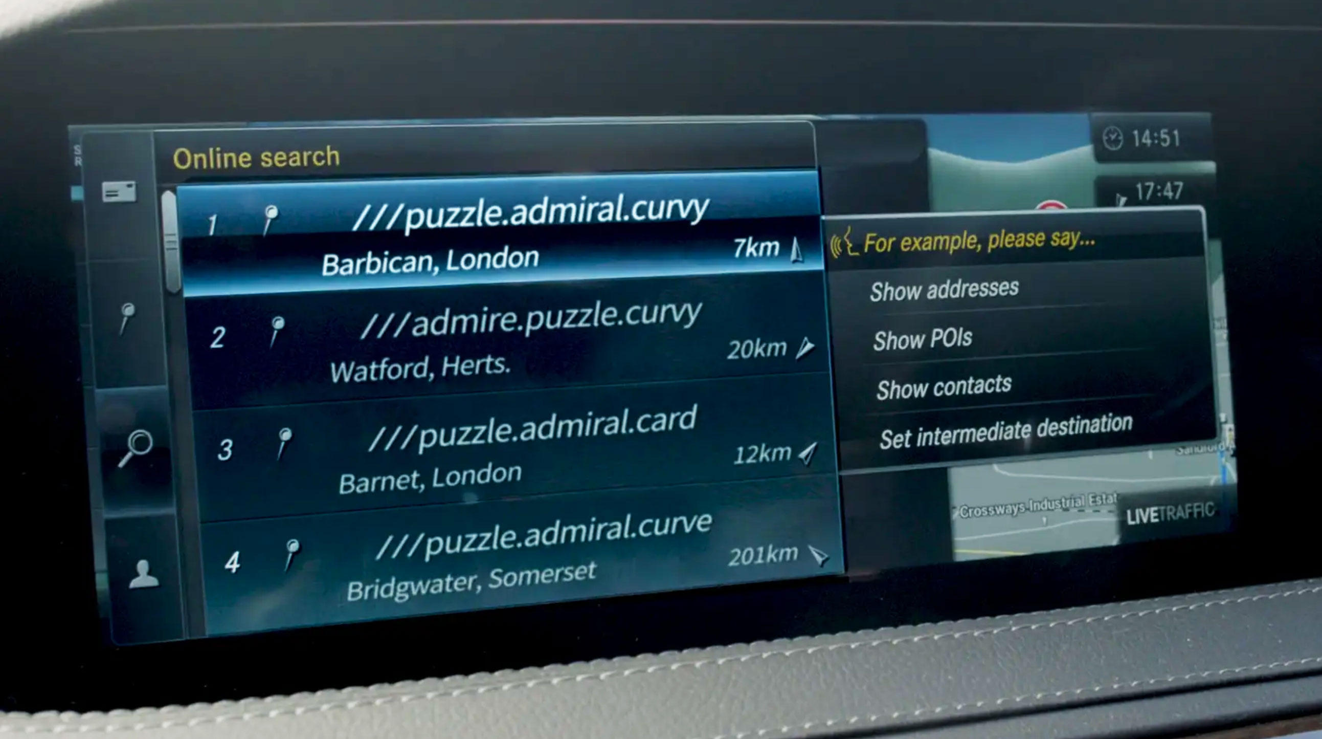 Mercedes is building What3words location technology into its cars. The spoken words are relatively easy for a human to remember and a computer to understand for voice control.