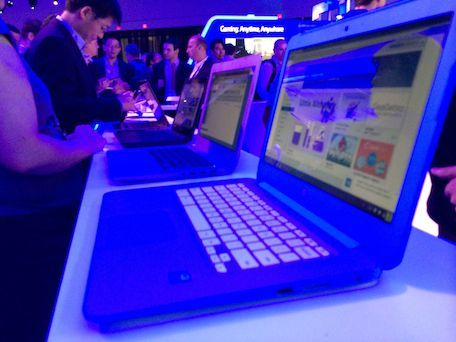 The lineup of HP, Dell, Toshiba, and Acer Chromebooks at Intel's CES booth.