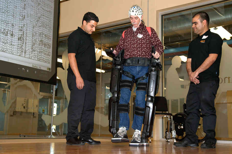 NeuroRex exoskeleton demonstrated by patient Steve Holbert, who uses his thoughts to walk.