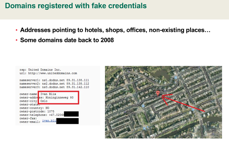 The creators of Flame used fake credentials to register domains used to communicate with infected computers, including non-existent businesses.