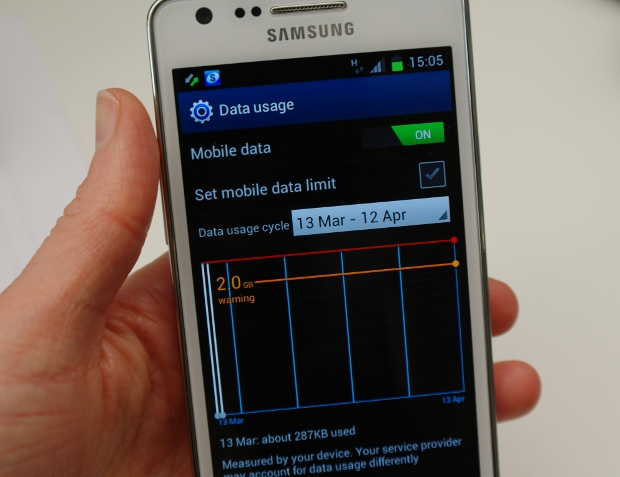 Samsung Galaxy S2 data usage