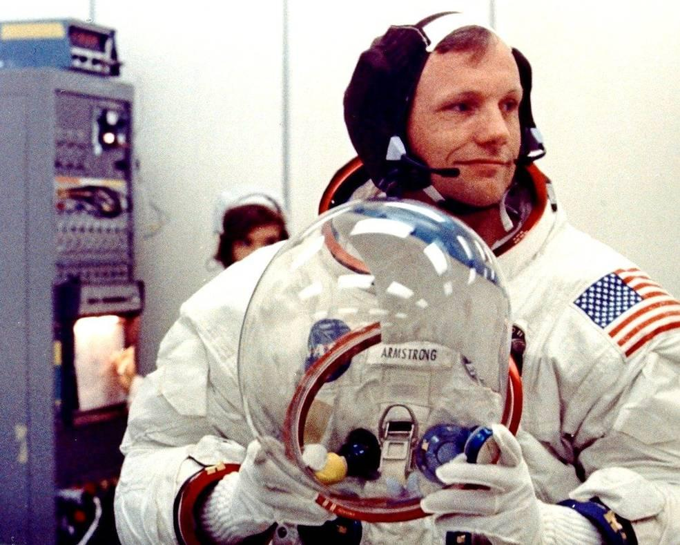 Neil Armstrong suits up on the morning of July 16, 1969.