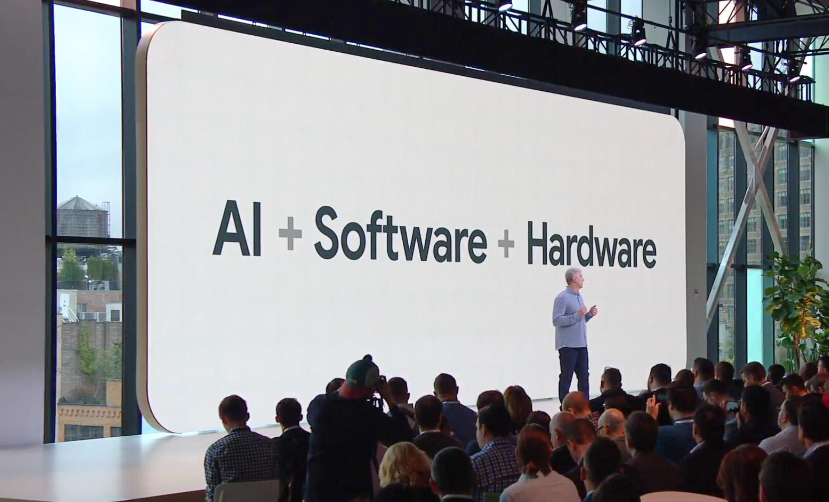 Google's Rick Osterloh touted his company's combination of hardware, software and artificial intelligence technology at the the Google Pixel 3 launch event.