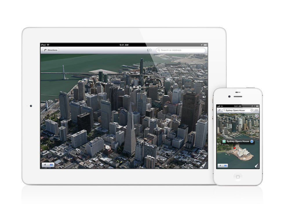 "Apple's new 3D mode called ""flyover."""