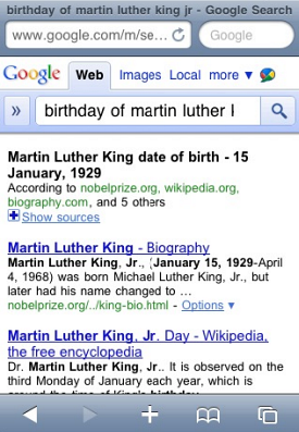 Google Mobile answers