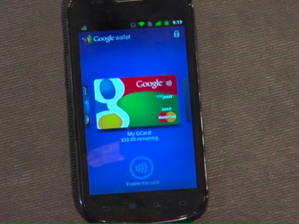 A credit card running with Google Wallet on the Nexus S.