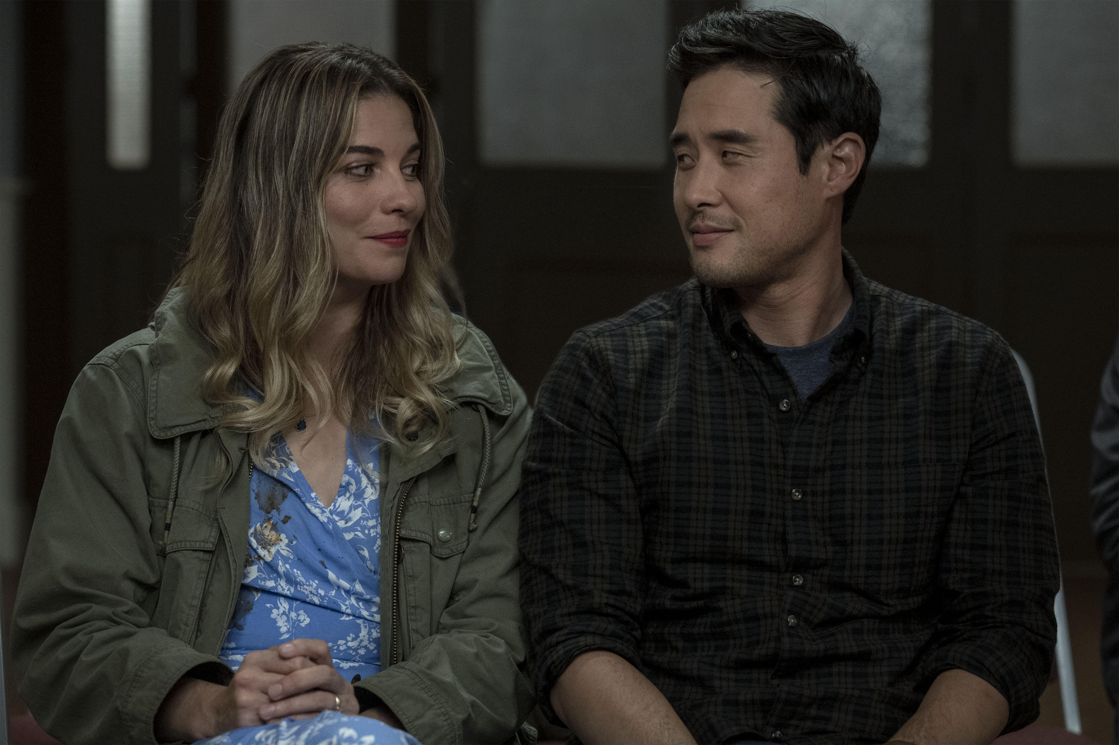Annie Murphy as Allison, Raymond Lee as Sam in Kevin Can F Himself