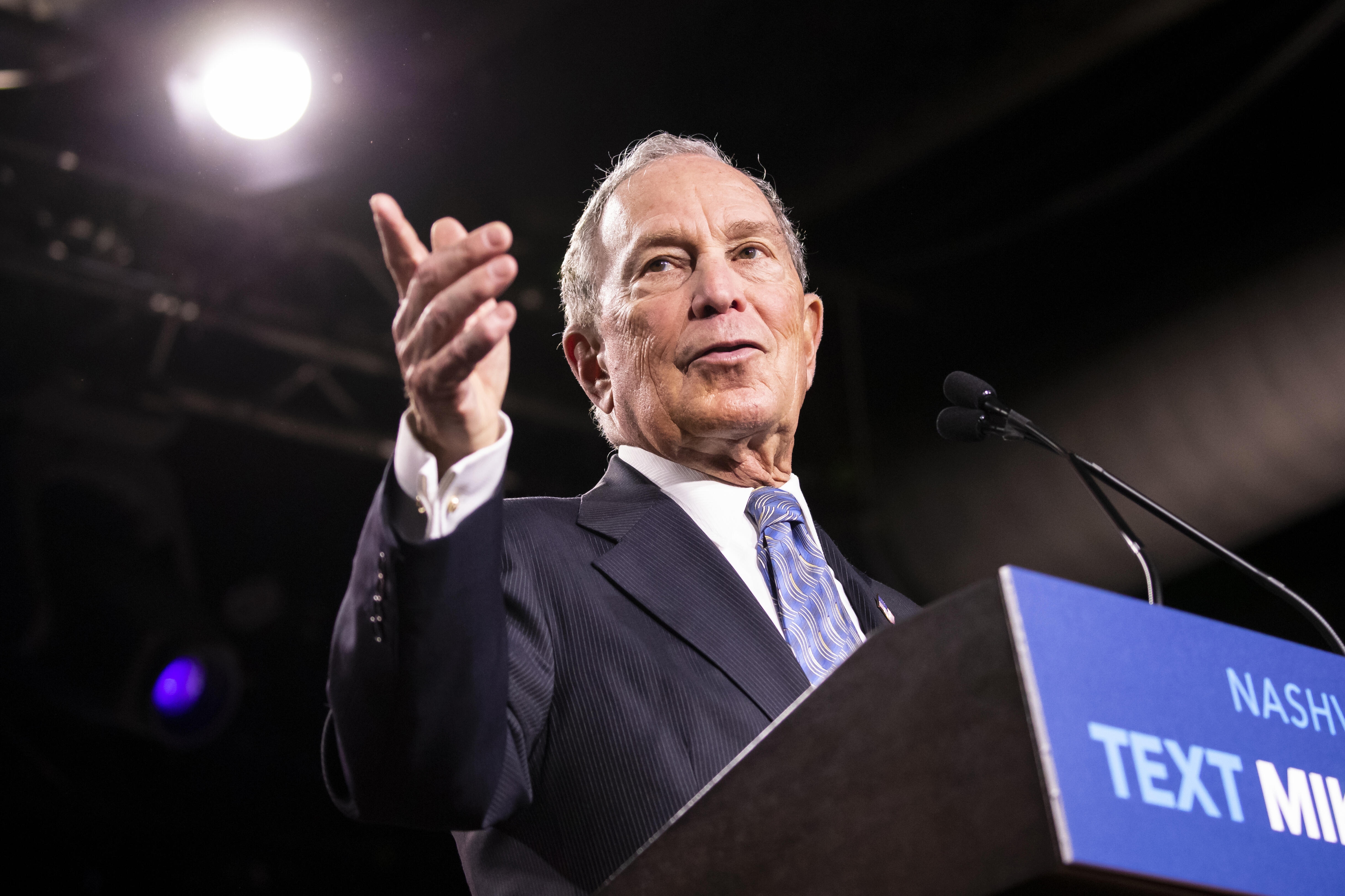 Mike Bloomberg delivers remarks during a campaign rally on Feb. 12,  in Nashville.